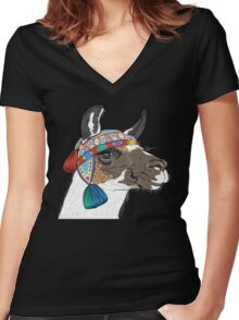 Sketch of Alpaca smiling Women's Fitted V-Neck T-Shirt