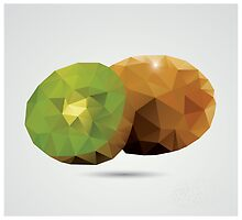 Geometric polygonal fruit, triangles, kiwi by BlueLela