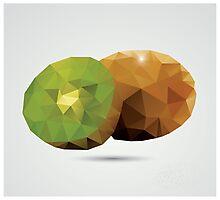 Geometric polygonal fruit, triangles, kiwi Photographic Print