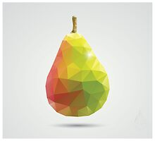 Geometric polygonal fruit, triangles, pear by BlueLela