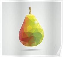 Geometric polygonal fruit, triangles, pear Poster