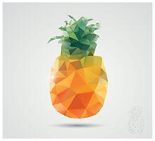 Geometric polygonal fruit, triangles, pineapple by BlueLela