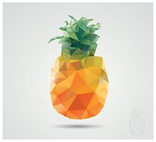 Geometric polygonal fruit, triangles, pineapple by BlueLela
