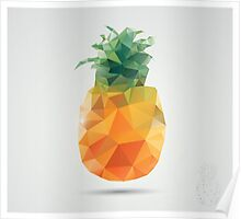 Geometric polygonal fruit, triangles, pineapple Poster