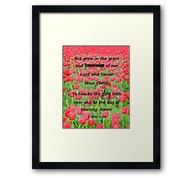 Red Tulip Fields - 2 Peter 3:18 Bible Verse Framed Print