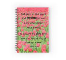 Red Tulip Fields - 2 Peter 3:18 Bible Verse Spiral Notebook