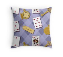 Alice In Wonderland Key Watch Cards In  Throw Pillow