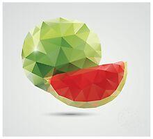 Geometric polygonal fruit, triangles, watermelon Photographic Print