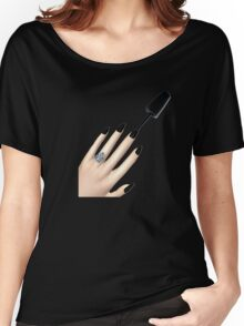 Nails Emoji (Black) Women's Relaxed Fit T-Shirt