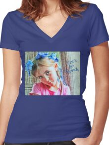 """A Floral Crown-""""Let's Be Friends"""" Greeting Card and More! Women's Fitted V-Neck T-Shirt"""