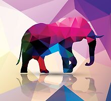 Geometric polygonal elephant, pattern design by BlueLela
