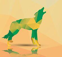 Geometric polygonal wolf, pattern design by BlueLela