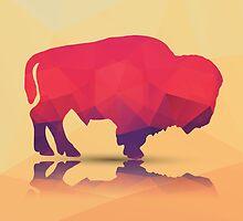 Geometric polygonal buffalo, pattern design by BlueLela