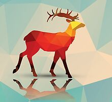Geometric polygonal deer, pattern design by BlueLela