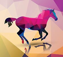 Geometric polygonal horse, pattern design by BlueLela