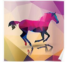 Geometric polygonal horse, pattern design Poster