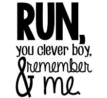 """""""Run, you clever boy, and remember me."""" - Clara Quote Photographic Print"""