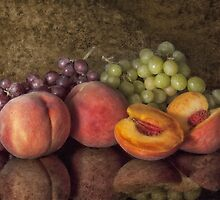 Classical Still Life - Peaches and Grapes by Jerry Deutsch