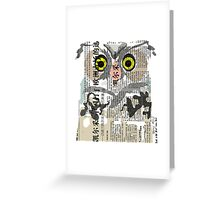 Owl Newspaper Collage Greeting Card