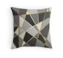 Black & Gray Modern Geo Gold Triangles Throw Pillow