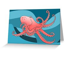 Smiling Octopus in the Blue Ocean Greeting Card