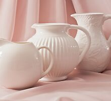 Three White Pitchers by Sandra Foster