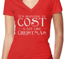 It's Beginning To Cost A Lot Like Christmas Women's Fitted V-Neck T-Shirt
