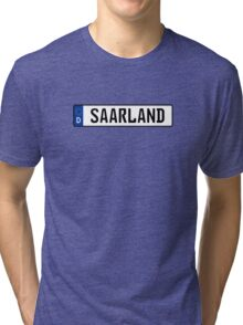 Saarland Nummernschild Tri-blend T-Shirt
