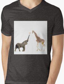 The giraffe and the elephant Mens V-Neck T-Shirt