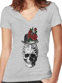 Skull with rib cage hat Women's Fitted V-Neck T-Shirt