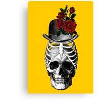 Skull with rib cage hat Canvas Print