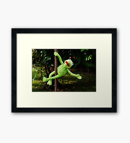 Kermit the frog on a pole Framed Print
