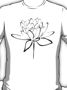 Lotus Flower Calligraphy (Black) T-Shirt