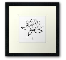 Lotus Flower Calligraphy (Black) Framed Print