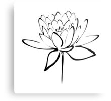 Lotus Flower Calligraphy (Black) Metal Print