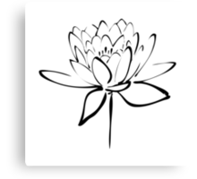 Lotus Flower Calligraphy (Black) Canvas Print