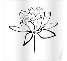 Lotus Flower Calligraphy (Black) Poster