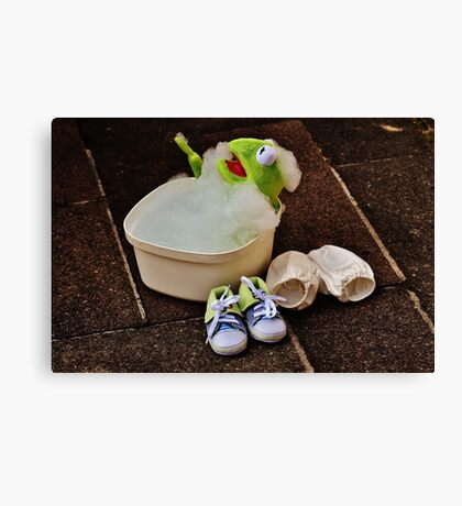 Kermit having a bath Canvas Print
