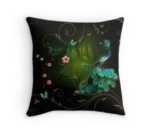 Peacock In The Forest 2 Throw Pillow