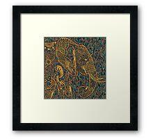 Zentangle Elephant Gold Framed Print