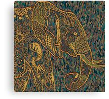 Zentangle Elephant Gold Canvas Print