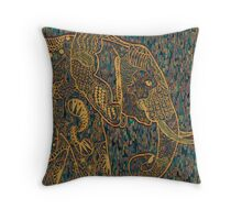 Zentangle Elephant Gold Throw Pillow