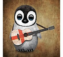 Baby Penguin Playing English Flag Guitar Photographic Print