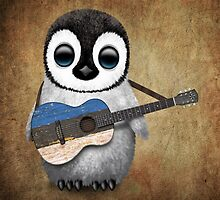 Baby Penguin Playing Estonian Flag Guitar by Jeff Bartels