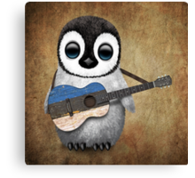 Baby Penguin Playing Estonian Flag Guitar Canvas Print