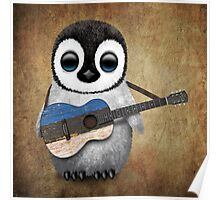 Baby Penguin Playing Estonian Flag Guitar Poster