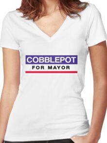 Cobblepot for Mayor Women's Fitted V-Neck T-Shirt