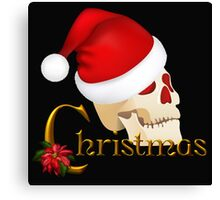 Christmas Skull with Hat Canvas Print