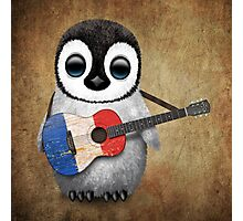 Baby Penguin Playing French Flag Guitar Photographic Print