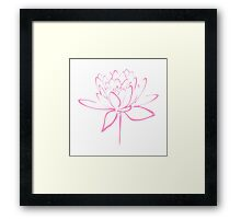 Lotus Flower Calligraphy (Pink) Framed Print